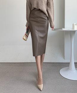 ✨DRESSCAFE✨[韓国ファッション] ♥ Limited item! ♥ 内起毛 レザー ミディアム丈 ペンシルスカート