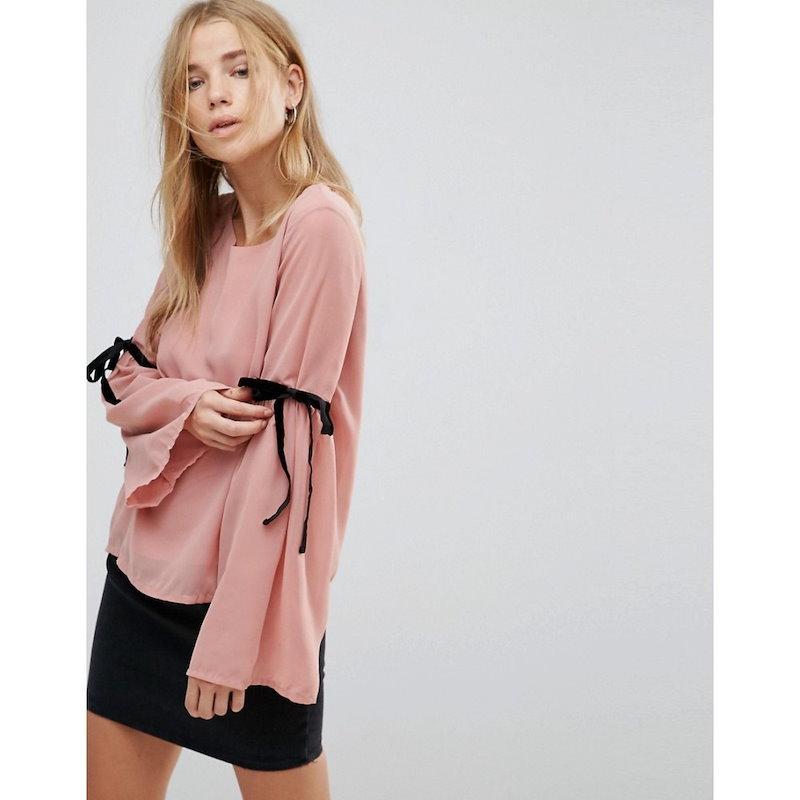 ヴェロモーダ レディース トップス【Vero Moda Tie Sleeve Top】Ash rose