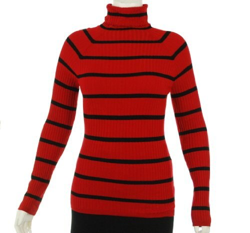 INC International Concepts Ribbed Rayon Turtleneck Red/Black Stripe Sweater Large