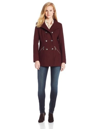 Kensie Womens Wool Military Double Breasted Coat, Wine, Medium