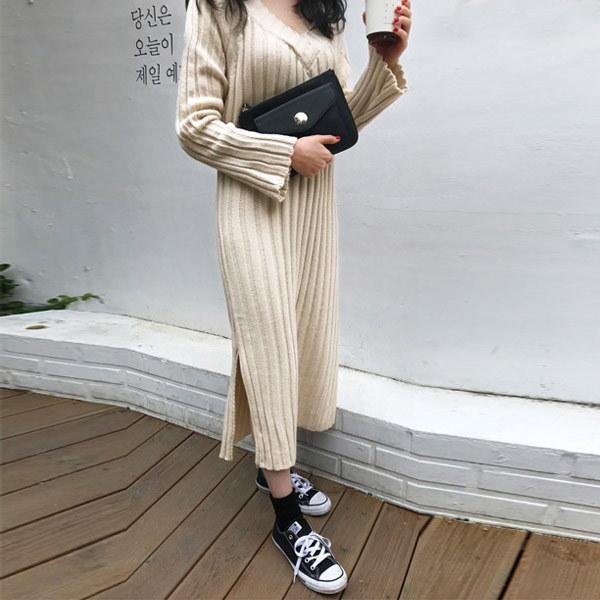 クリームポンドニットロングワンピース/韓国ファッション/イムブリー/IMVELY