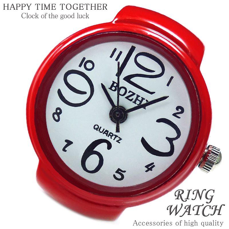 【新作 全21種】リングウォッチ レッド 赤 丸型 クロックリング 指輪時計 指時計 フリーサイズ 指輪 型 時計 かわいい フィンガーウォッチ アナログ プチプラ レディース 時計 【t289】【あ