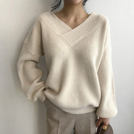 Knitted Sonnet Sleeves Balloon Korean fashion style