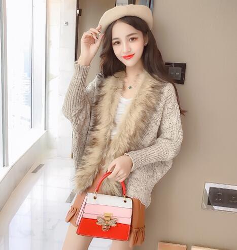 [55555SHOP]ニットカーディガン♡コートにのゆったりセーターの外をかけて 韓国ファッショ