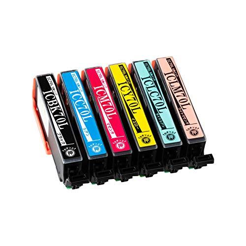 エプソン用 【70L 互換インク】 大容量6色セット IC70互換 [対応機種] EP-976A3 / EP-906F / EP-905A / EP-905F / EP-806AW /