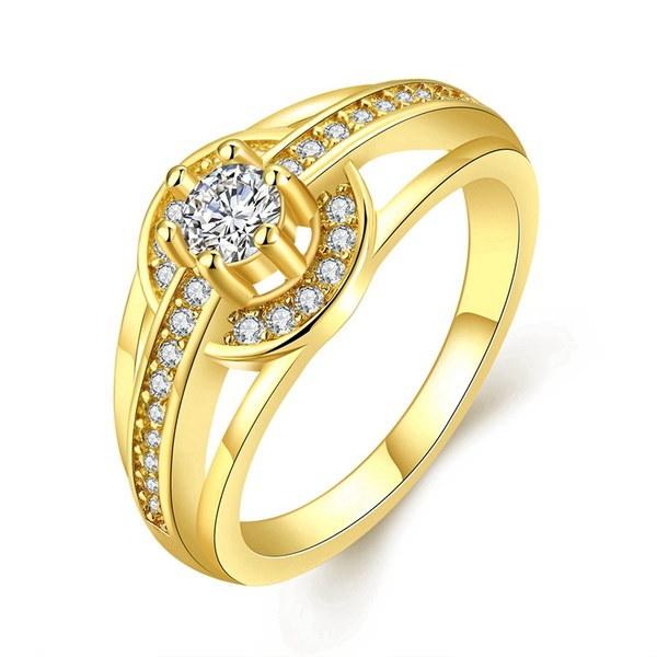ウィージュエリー女性18KゴールドウォッチスタイルCZクリスタルアニバーサリーエターニティーリング約束の婚約者