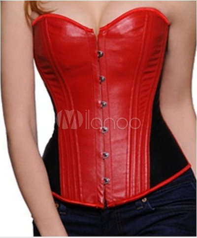 Fashion Color Blocking Leather Front Button Women s Corset