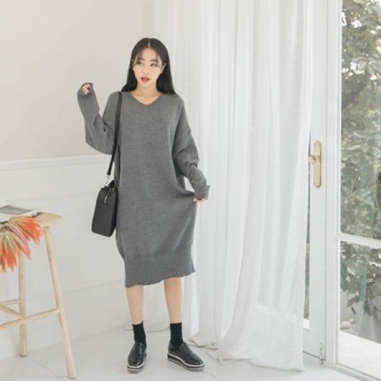 ホワイト・フォックスシンプルカオリピッニット・ワンピース ニット/セーター/ニット/韓国ファッション