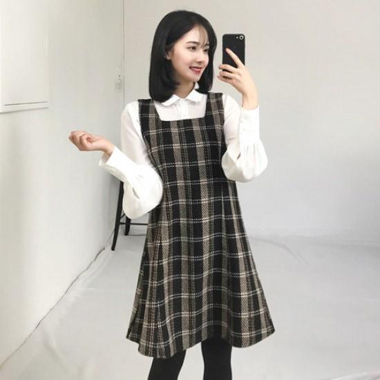 エイと非オプスクェオチェックワンピース 綿ワンピース/ 韓国ファッション