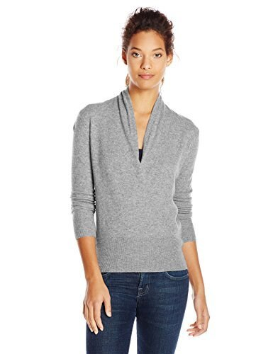 Sofia Cashmere Womens Cashmere Faux Wrap Sweater, Light Grey, Small