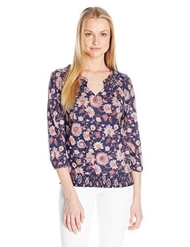 Lucky Brand Womens Multi Floral Peasant Top, Navy Multi, Medium