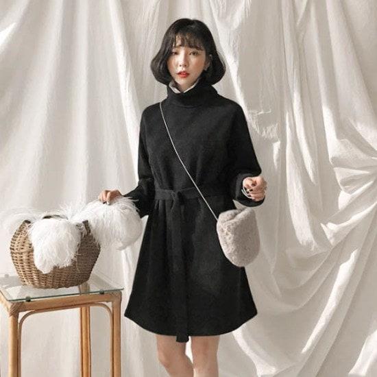 あっかんべーショップベルトセットニットOPSワンピース ニット・ワンピース/ 韓国ファッション