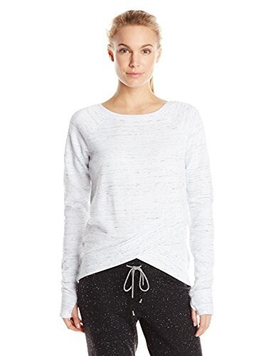 Steve Madden Womens Wrap Bottom Pullover with Raw Edges, White, X-Large