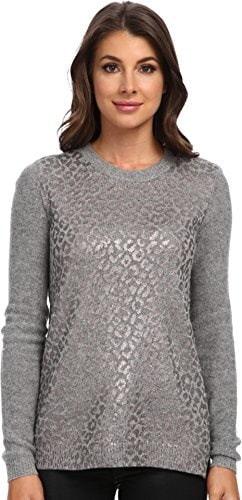 Rebecca Taylor Womens Foil Leo Pullover Medium Grey Heather Combo Sweater XS