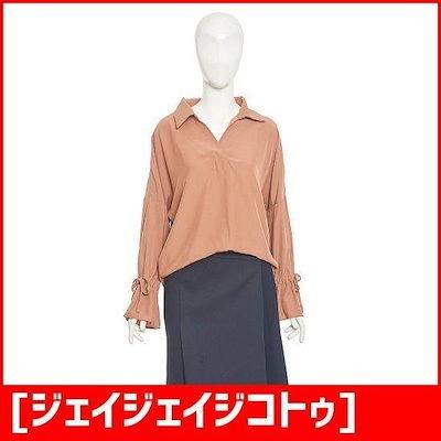 [ジェイジェイジコトゥ]洗練されたシャツ型ブラウス(GI9N0BL38) /レース/フリルブラウス/韓国ファッション
