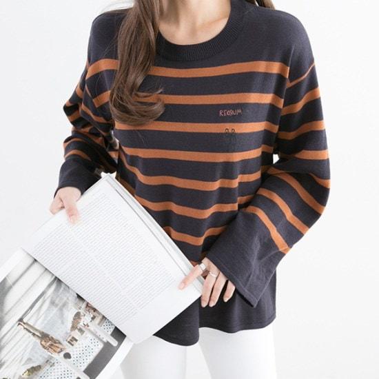 ペッパー・ストライプルーズフィットニット104401 ニット/セーター/ニット/韓国ファッション
