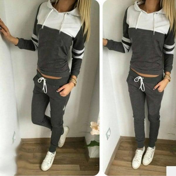 女性ファッションスポーツカジュアルトップスコートパンツズボン衣装セットスウェットスウェットスーツトラックスーツ