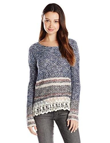 Jolt Womens Sweater with Lace Hem, Acid Blue, Medium