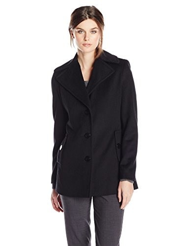 Calvin Klein Womens Single Breasted Wool Coat, Black, 4
