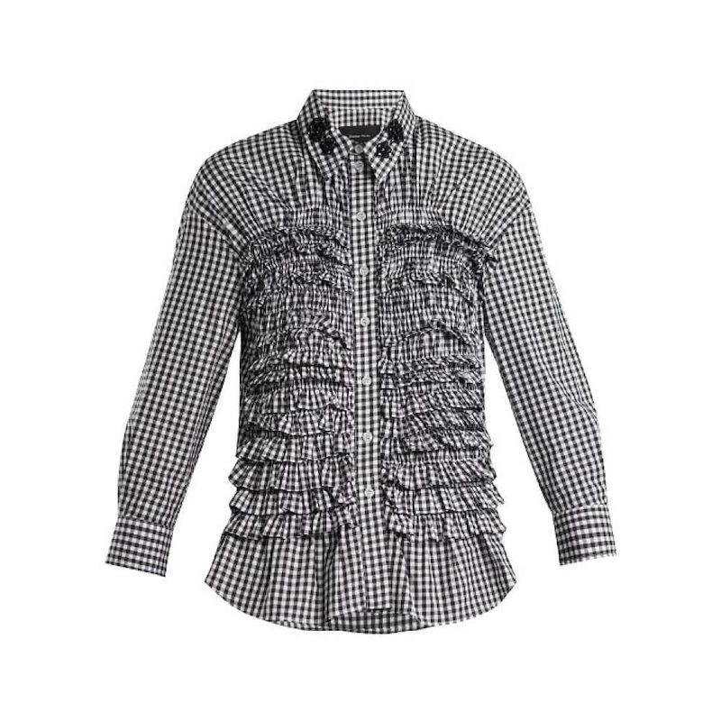 シモーネ ロシャ レディース トップス ブラウス・シャツ【Ruffled-panel gingham cotton shirt】Black and white