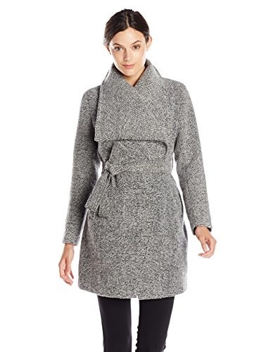 Steve Madden Womens Wool Wrap Coat, Charcoal Grey, Large