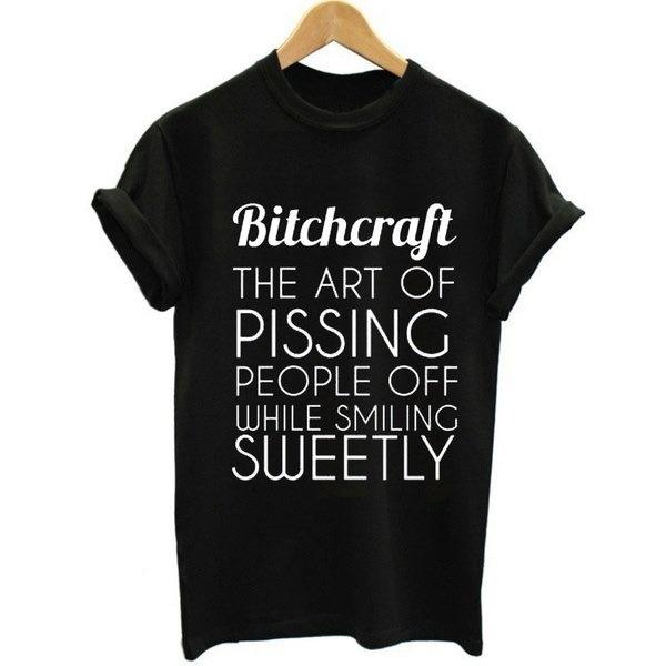 ビッチクラフトレタープリント女性ファッションヒップスター憎しみTumblrストリートショートスリーブトップティー
