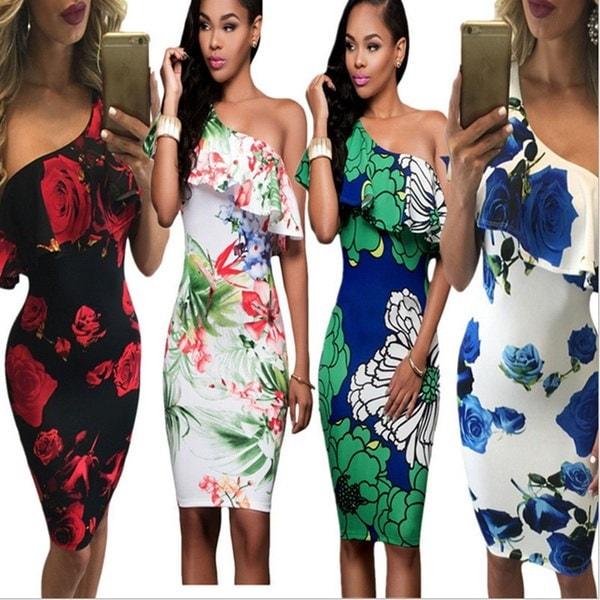 女性のファッションは、ショルダーfalbalaのドレスを傾けて花を印刷した包帯のカクテルドレスは、グリーンとモル