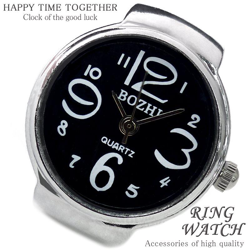 【新作 全21種】リングウォッチ ブラック 黒 シルバー cr 丸型 クロックリング 指輪時計 指時計 フリーサイズ 指輪 型 時計 かわいい フィンガーウォッチ アナログ プチプラ レディース 時計