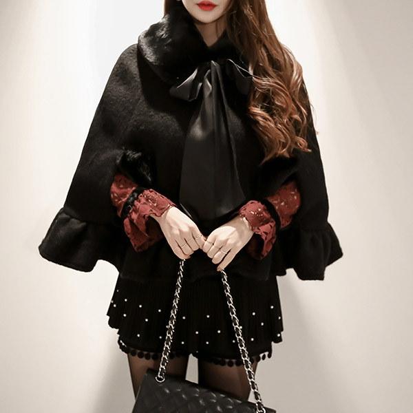 marlangrouge(韓国ファッション)[marlangrouge]ケープ風ファーカラーラインコート
