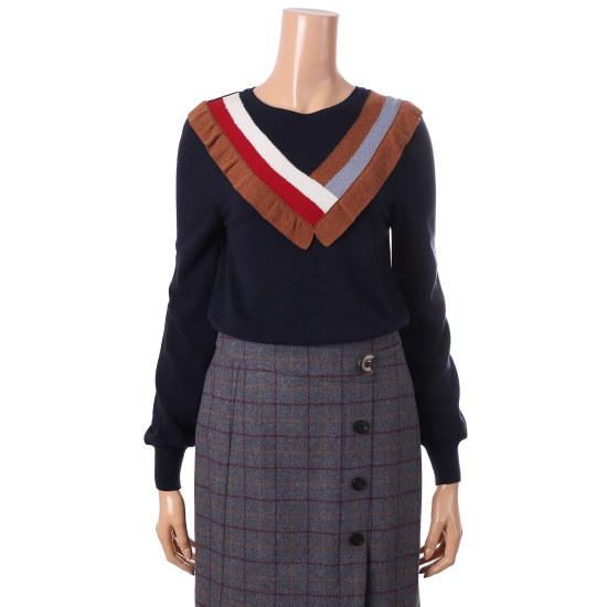 シシコレクト洗練フリル配色ニートC173KSK008 ニット/セーター/韓国ファッション