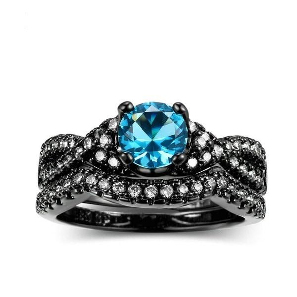 ブルーサファイアヴィンテージファッションエレガントな18Kブラックゴールドフィルド女性の男性結婚指輪セット