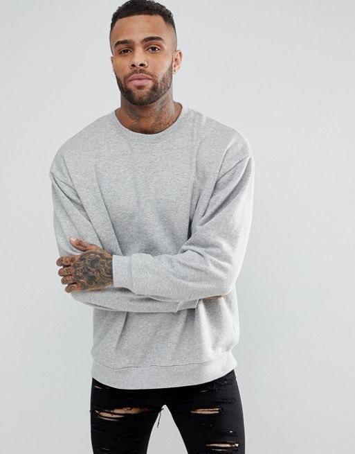 ASOS Oversized Sweatshirt in Gray Marl
