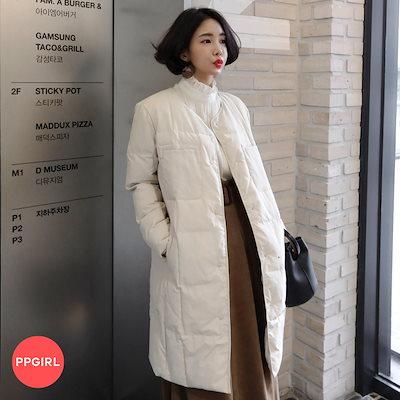 PPGIRL(韓国ファッション)♥送料 0円★PPGIRL_D406 Crew padding jumper / padding coat / long padding / outer / long coat /