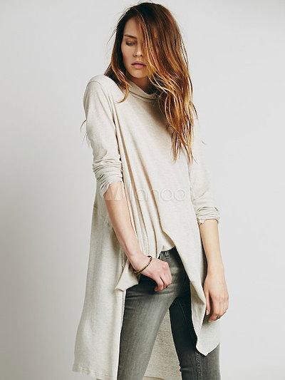 Ecru White Blouse High-Low Asymmetric Cotton Shirt for Women