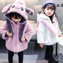 可愛い女の子 子供服ふわふわモコモコパーカー中綿コート 子供服 キッズ アウター 冬服 ジャケット フード付き耳がぴょこぴょこ動く帽子Tik Tok 流行デザイン 動物 ウサギの耳帽