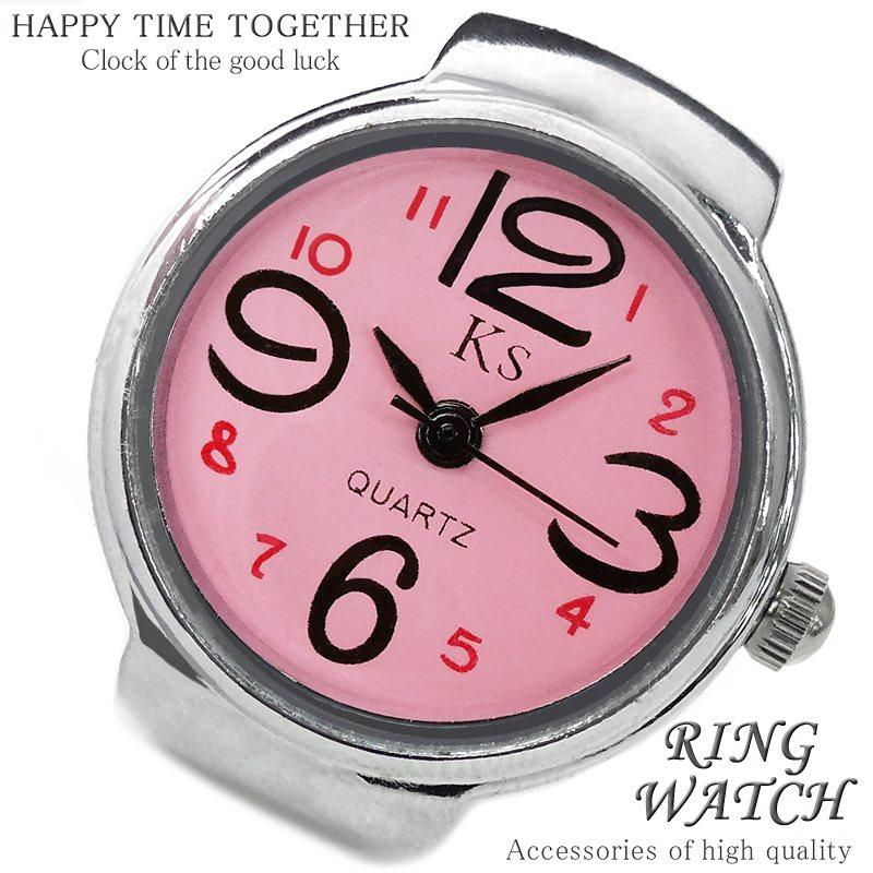 【新作 全21種】リングウォッチ ピンク シルバー cr 丸型 クロックリング 指輪時計 指時計 フリーサイズ 指輪 型 時計 かわいい フィンガーウォッチ アナログ プチプラ レディース 時計 【t