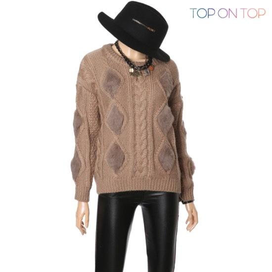 タプオンタプタプオンタプだ揚げ菓子・ファーポイントニートTP164823 ニット/セーター/ニット/韓国ファッション