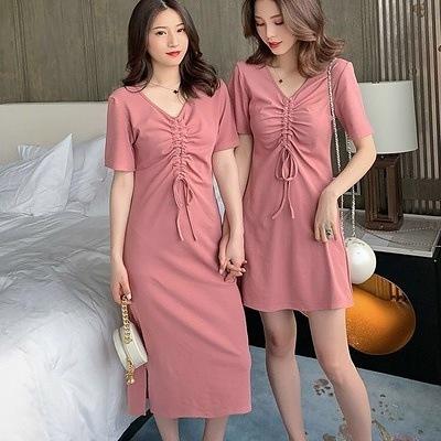 ガールフレンドスリムフィットVネック巾着Tシャツ学生ドレス2020夏の新しい韓国のピュアカラーオールマッチTシャツスカート