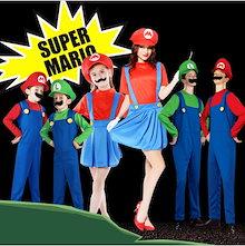 【短納期】クリスマス コスプレ スーパーマリオ風 コスチューム supermario ルイージ風 マリオ風 Mario Luigi 子供用 大人用 セット ゲームコス 変装 パーティー 女の子 男の子