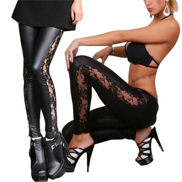 HAZY Fashion New Women PU Leather Gothic Punk Leggings Pants Lace Skinny Trousers