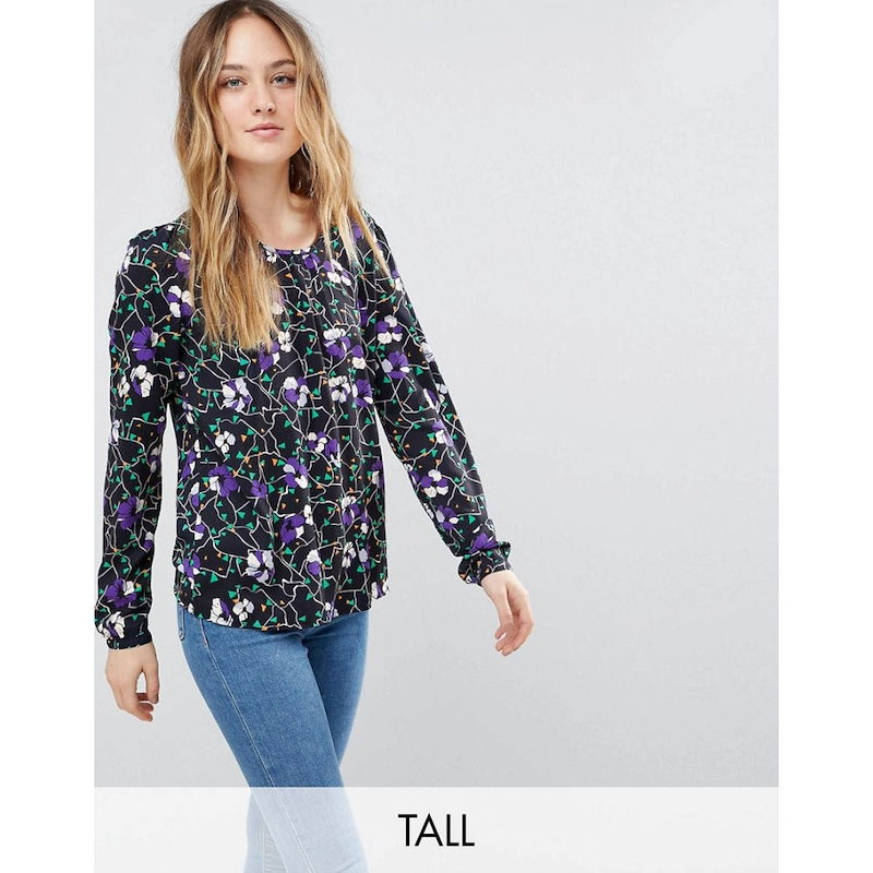 ヴェロモーダ レディース トップス【Vero Moda Tall Floral Long Sleeve Top】Night sky