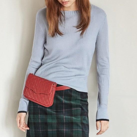 ナインNAIN配色ラウンドニートT3684 ニット/セーター/韓国ファッション