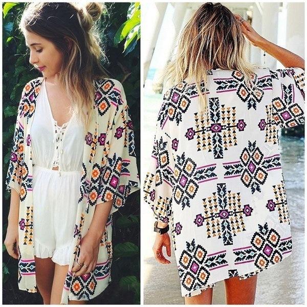 Women Geometry Printed Chiffon Shawl Kimono Cardigan Tops Cover Up Blouse FLF