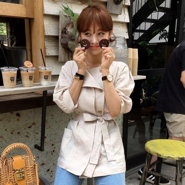オートミールクッキーリネンジャケット/韓国ファッション/イムブリー/IMVELY