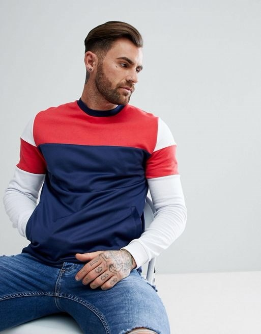 ASOS Sweatshirt With Color Block And Poly Tricot Panels