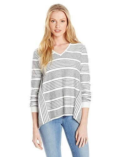 French Connection Womens Pinstripe Crochet Sweater, Summer White/Black, Medium