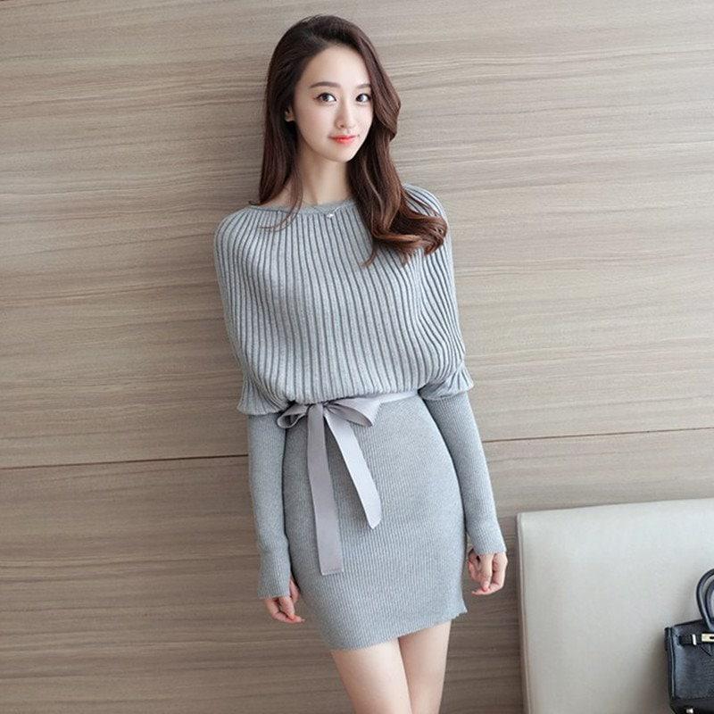 新しい秋と冬のパッケージヒップバットスリーブセーターニットタートルネックニットドレス女性の女性のファッション