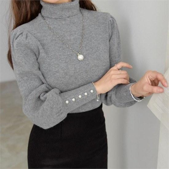 ペッパー行き来するようにペッパーカシミアの真珠ボタンのポーラー・ニット104784 ニット/セーター/ニット/韓国ファッション