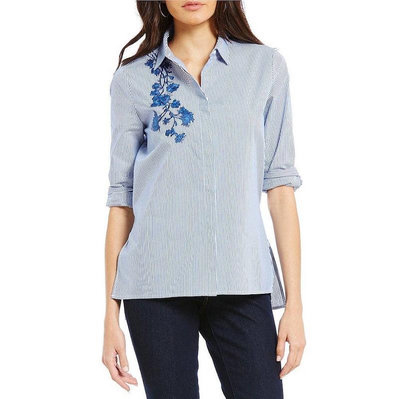 ウエストバウンド レディース トップス ブラウス・シャツ【Westbound Petites Button Front Embroidered Shirt】Blue/White Stripe