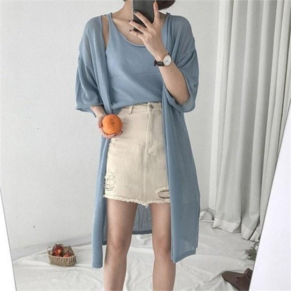 hlr06ベーシックスルリブリスカディゴンセットナシカディゴンセットnew 女性ニット/カーディガン/韓国ファッション